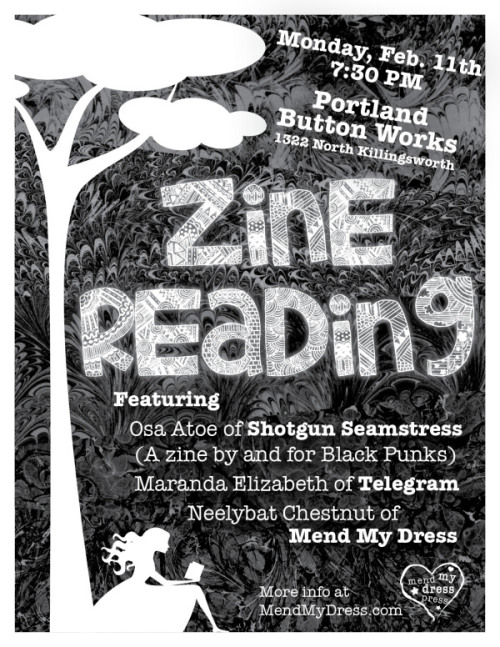 Our second zine reading event at the Portland Button Works shop!