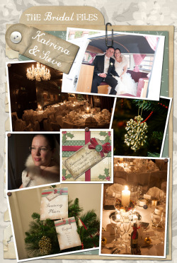 The Bridal Files: Katrina Ashley & Steve Raynsford A wonderful Festive Bridal Files today. I have to say it was so lovely to work with a beautiful Christmas bride who wanted to embrace the festivities of the season - the way Katrina described her day to me was exactly what I envisioned when I was planning my Christmas Wedding 3 years ago. As you can see they pulled off the most spectacular day full of warmth and candlelight and Katrina looked amazing! The magical atmosphere of this beautiful wedding is so evident in the photographs. Read on to find out more about the details: ……………………………………………………………………………. Wedding date and venue: 1st December 2012, Bartley Lodge Hotel, CadnamGive me a summary of your wedding day and the theme you decided to go for.I've always wanted a winter wedding with lots of candles and fairly lights! We chose to marry in December as I love Christmas and plumped for the 1st as Steve said this would be an easier date to remember for our anniversary!  When looking for inspiration, most images were silver and blue for icy winter wonderland weddings, not what I wanted at all despite our love of skiing…. I wanted to create a warm, magical feeling, so we veered towards creams and golds which matched my dress which was champagne in colour.I stayed at the hotel the night before and woke to a beautiful cold crisp day, with a blanket of frost and the sunshine appeared just as we were about to get married, I saw this as a sign my Dad was looking down on me and blessing our marriage. The hotel staff were really helpful and understood the look I was trying to achieve. They stayed up until midnight the night before, putting up their Christmas decorations for us early which included 5 Christmas trees! Our registrar Gaynor held a really personal ceremony and we were thrilled with the outcome of all our planning, but more than anything, we were pleased to be able to share our special day with our loved ones, family and close friends.