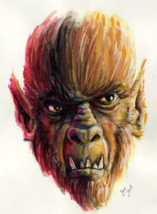 lencandraw:  small gouache painting of werewolf