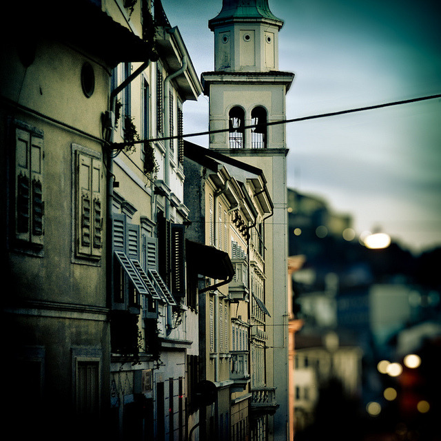 | ♕ |  Campanile at dusk - Gorizia, Italy  | by © Davide Caregari