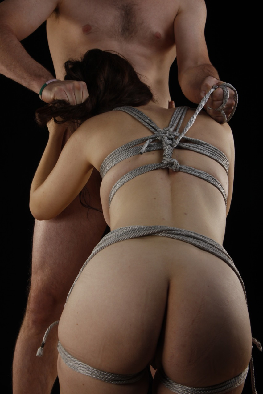 Shibari blowjob with hair pulling