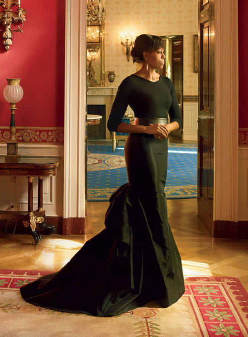 The First Lady of the United States, Michelle Obama, for Vogue US April 2013  She looks great, but the real question is when did Obama get a time machine?