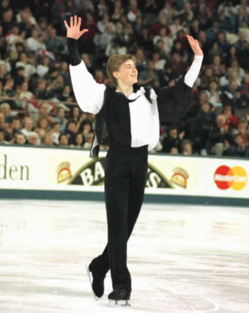 Ilia Kulik's short program costume at the 1996 Worlds. His music was The Addams Family. Photo by Barry Mittan.
