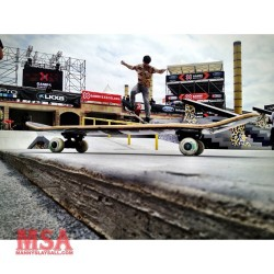 mannyslaysall:  Yupp @chriscobracole nose grinding the #msaboard while practice during @streetleague at @xgames #skatelife #streetleague #SLSatXGames