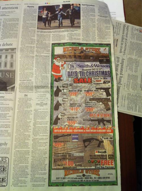 hypervocal:  Maybe not the best place for a HUGE gun ad, directly next to your story on the Newtown shooting. They did apologize — read it here.   ::headdesk::