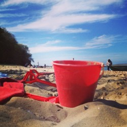 Happy days! Bucket and spade. #beach #bucket #spade #sand #summer #boat #sun #holiday #vacation #sunbathe #sky #sun #blue #warm #deckchair #towel #dig #sandcastle #picnic #red #cloud #bluesky