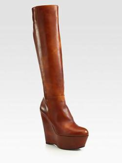 Stuart Weitzman Vivid Leather Knee-High Wedge Boots via http://bit.ly/WJbadU