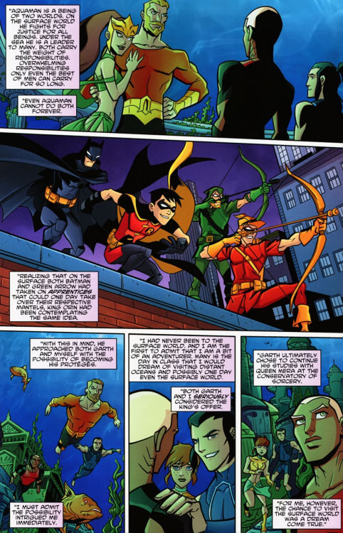 "From Young Justice 5… ""Both Garth and I seriously considered the King's offer. Garth Ultimately chose to continue his studies with Queen Mera at the conservatory of sorcery. For me, however, the chance to visit the surface world was a dream come true."" I always liked this nod to one place where the comics and the TV show split. A moment - a simple decision made by both Garth and Kaldur - that decided who would be Aqualad, sidekick to Aquaman, soon to be first leader of Young Justice. Personally, I hope Garth makes another appearance on the show before it ends. I mean, if Tula became a member of Young Justice, why couldn't have Garth as well? And he could return to help out in the greatest time of need for Earth, for YJ, and for his best friend Kaldur."
