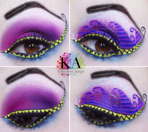 katiealves:  As requested, I've designed a look inspired by BOTH Cheshire cats. I have the traditional pink and purple and underneath I have the blue. There are stripes in there, but you cant see them because of my lashes. Boo! I wanted to incorporate the smile into the look. Originally I was going to do just white, but I found the yellow stood out WAY more! I've done two versions of this look. One without the funky details and one with. Those teeth were a PAIN! The liquid eyeliner kept catching all of the lashes and… buh. Took way too long! haha! WHICH DO YOU PREFERRRR? I couldn't decide which I liked better!