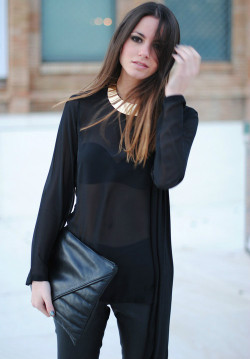 must-have-outfits:  Cute black sheer and nice statement with the gold.