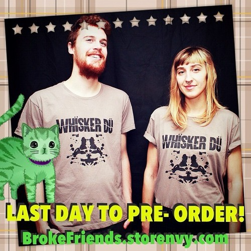 kittenbutter:  Today is the last day to pre-order a Whïsker Dü shirt! Soon to be the most comfortable shirt you own. Http://brokefriends.storenvy.com #catpeople #hüskerdü #huskerdu
