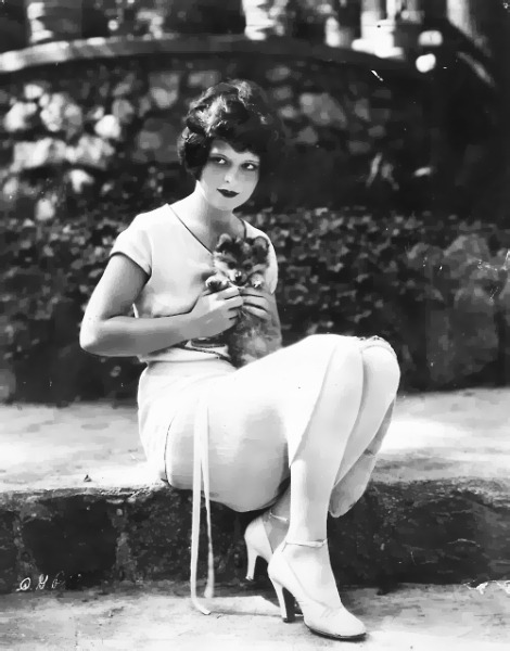 Clara Bow with a little friend - c. 1920's