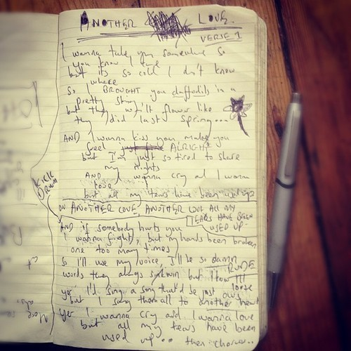 Tom Odell's notebook with Another Love's lyrics.