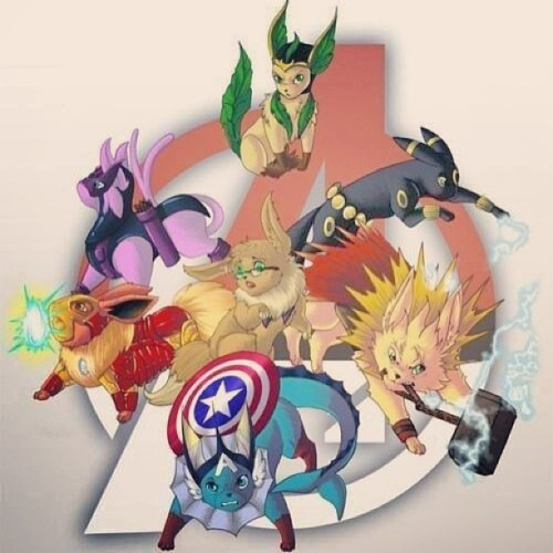 ashashbigash:  The Eeveengers! And Lokieon. #eevee #pokemon #avengers #superheroes
