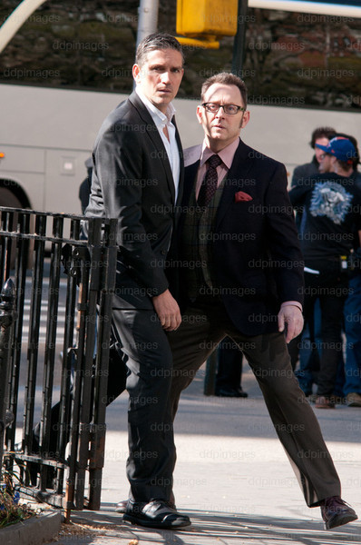 John & Harold ~~ They really can't dance [Jim & Michael BTS on POI set for 1x22, No Good Deed] (all rights to ddpimages)
