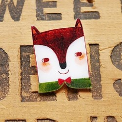 Fantastic Fox Shrink Plastic Brooch www.etsy.com/shop/minifanfan  #etsy #shrink #plastic #handmade #cute #wearable #brooch #fox #fantastic