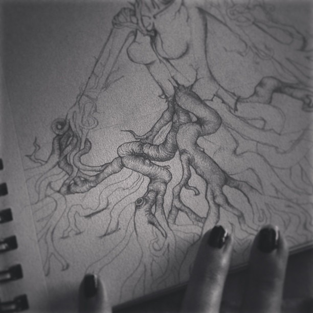 God damn, #tree #roots are a bitch to draw. My Begotten-influenced #drawing is turning into some sort of half tree humanoid… #illustration #graphite #pencil #art #roots #dark #horror #sketch