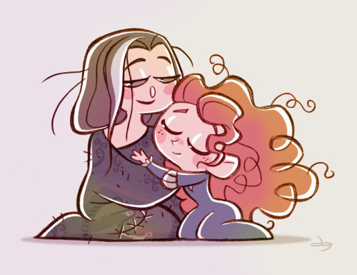 thehuginator:  Chibies Queen Elinor and Princess Merida by *princekido