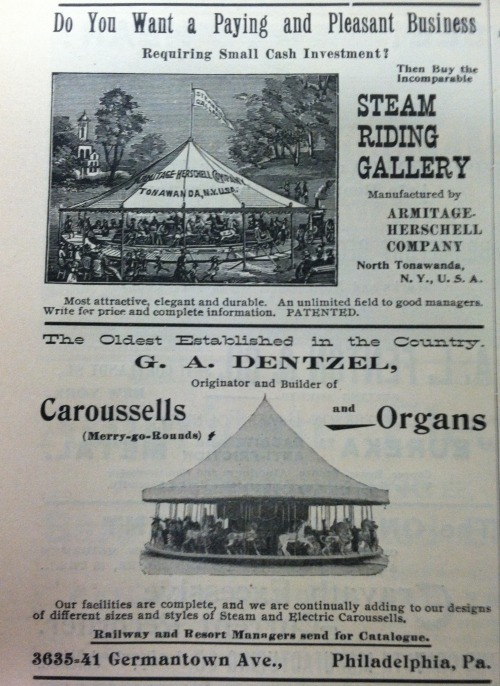 Carousel advertisements from the turn of the 20th Century.  Interestingly he Smithsonian carousel on the Mall is a Herschell.  Want to know more about our carousel's history?  http://blogs.smithsonianmag.com/aroundthemall/2009/08/oom-pah-pah-carousel-time/