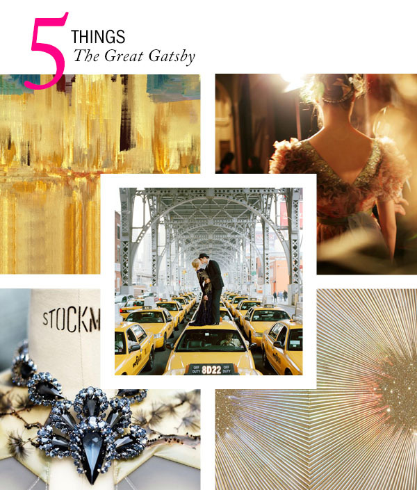 We have The Great Gatsby stuck in our minds after seeing the movie over its opening weekend. Here are 5 Things available on Artspace that are very Gatsby, Old Sport. 1. Adoration : (Great Hoy) Tank of Gold, 2012 by Rory Donaldson (top left) 2. Christian Lacroix fashion show at the Ecole Nationale Superieure des Beaux-Arts, 6th arrondissement. Tuesday, the 24th January, 2006., 2006 by Christopher Anderson (top right) 3. Edythe and Andrew Kissing, NY, by Rodney Smith (center) 4. France. Paris. February 2008. Balenciaga, 2008 by Christopher Anderson (bottom left) 5. Gold Dust, 2012 by Sylvia Hommert (bottom right)