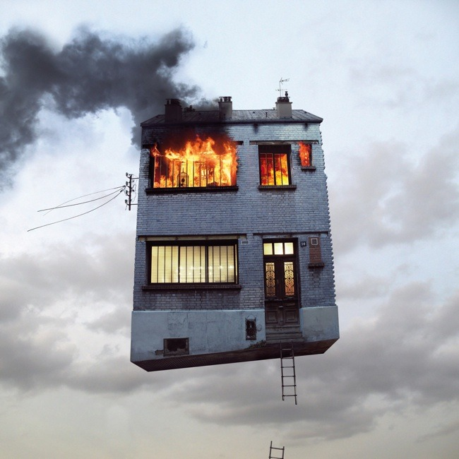 Flying Houses by Laurent Chehere Colossal:    French photographer Laurent Chehere is known for his commercial work for clients such as Audi and Nike, but after a change of interest he left advertising and traveled the world with stops throughout China, Argentina, Colombia, and Boliva. From his numerous photographs along the way was born his flying houses series, a collection of fantastical buildings, homes, tents and trailers removed from their backgrounds and suspended in the sky as if permanently airborne. The collection of work appeared at Galerie Paris-Beijing last year with an appearance at Art Miami in December. You can see much more on his website. (via it's nice that)