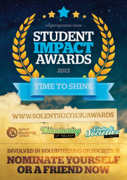 solentsu:   The Student Impact Awards were held on Monday at Oceana. These awards are to reward and recognise students who have made a difference to the community at Solent and Southampton whilst at university. Here is the full list of winners: ☆ Ethical & Environmental Action Award: Sam Spencer☆ Student Choice Award (peer-to-peer award): Sam Jones☆ Project of the Year: Georgie Laming / Sam Jones / Graham Fitzgerald / Rowan Johnson for NaSTAvision☆ SU Contribution Award: Owen Cheshire☆ Outstanding contribution to Community: Tiffany Bryant☆ Rep Award: Catherine Collins Clubs & Societies: ☆ Best Event of the Year: MARS - Full Metal Assault Festival☆ Outstanding Contribution to Development: Solent Islamic Society☆ Committee Member of the Year (peer-to-peer award): Odelle Hogg☆ Most Innovative Society: SonarTV☆ Outstanding Contribution to Community: RAG Solent The awards will be available to view on demand at www.sonartv.co.uk