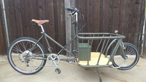 Just finished building up this electric assist cargo bike. Frame was built by our friend at cycletrucks.com