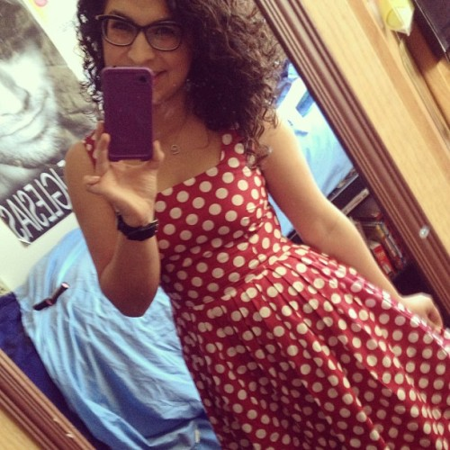 Just call me Minnie Mouse #dress #red #polkadots #glasses #makeup #curls #smile #happy #spring!