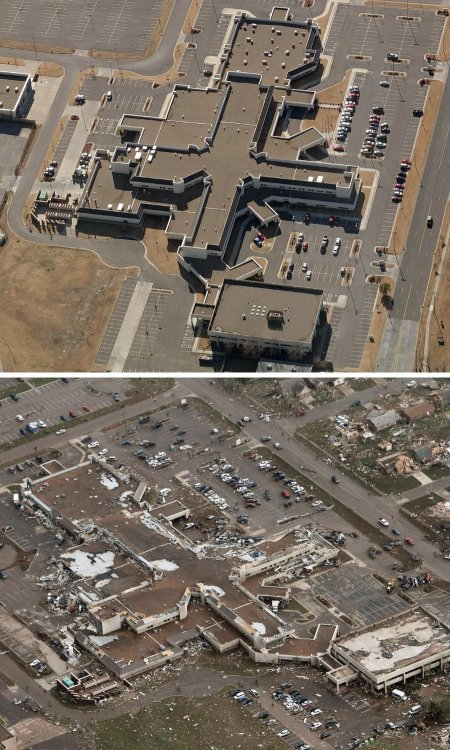 latimes:  nevver:  Before and after  The latest: At the scene of the tornado, officials have pledged to rebuild, while rescue crews continue to look for those still unaccounted for in the wake of the newly-classified EF-5 storm.