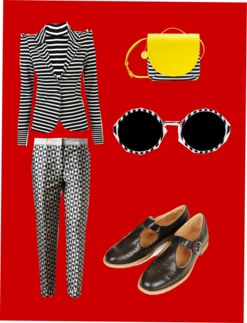Stripe Love and Pattern Pleasure by style-stockpile featuring t-bar shoesStripe blazer, $39 / Haider Ackermann twill pants, $660 / Topshop t-bar shoes / Satchel handbag / Circle sunglasses