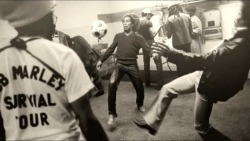 Bob Marley and Jimi Hendrix Juggling a Soccer Ball…
