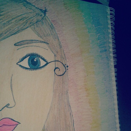 My art? :3 #art #gay #rainbow #drawing #bored #pretty #lipstick #blueeyes #colors #woman #lesbian #pride