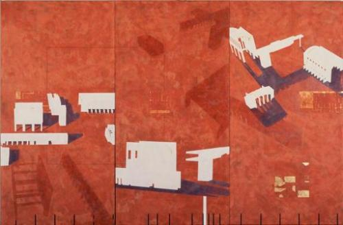 CCC Mural Thom Mayne with Maya Shimoguchi 1987. Modeling paste on masonite. 79 x 120 inches (200.7 x 304.8 cm)