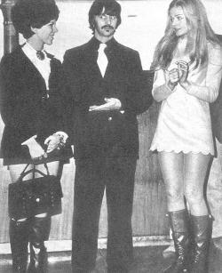 December 3, 1967 - Actress Ewa Aulin, star of Candy, greeted Maureen and Ringo when they arrived in Rome for Ringo to film his role in Candy.  Source of this scan is the Maureen Starr Tribute group at Yahoo!