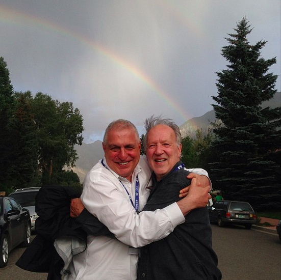 jedsundwall:  Errol Morris and Werner Herzog hugging under a rainbow. The greatest picture ever posted to Instagram.  OMG this is the cutest.