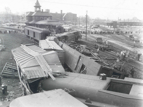 nhrail:  Wreck of the Boston and Maine Red Wing passenger train. Nashua, NH November 13, 1954. One killed, 53 injured.