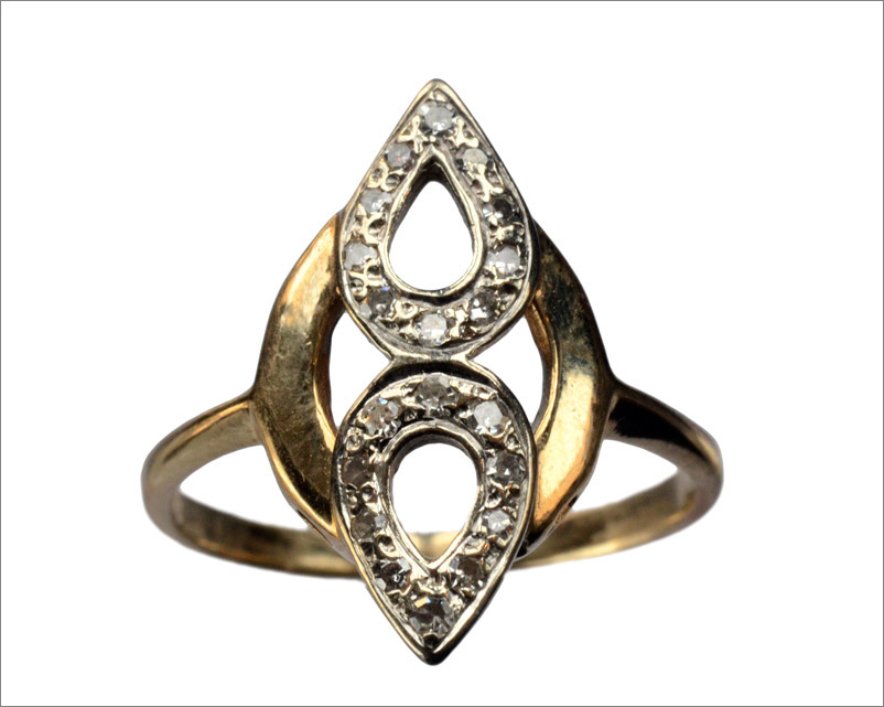 1940-50s Late Deco Single Cut Diamond Ring, 14K(in the online shop)