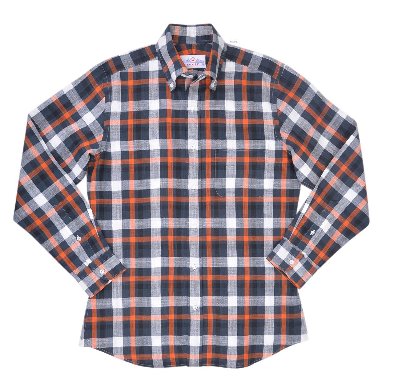 Luxire casual shirt constructed inBlack Orange Checks HerringboneConsists of button down collar and single button barrel cuffs.