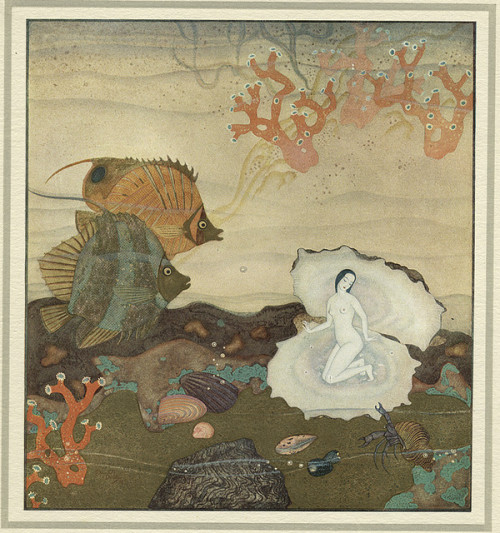Edmund Dulac, Birth of the Pearl, 1900s on Flickr.  Carregar na imagem para ver em tamanho 720 x 768. Found in The Golden Age of Illustration Project thread.