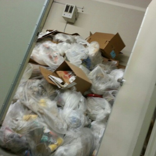 Trash room at my work is literally a mountain (at potbelly)