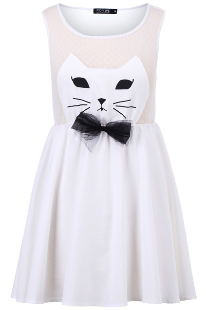 myshopping-bag:  Cat Face White Dress