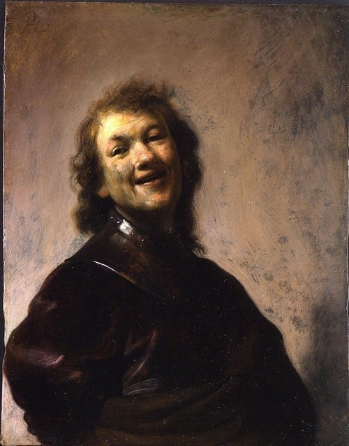 "silezukuk:  Rembrandt at age 22, self portrait ~1628 / j. paul getty museum Painted on copper, this small oil (22cm x 17cm) bears the artist's monogram, ""RHL,"" which combines his name [Rembrandt Harmensz] with Leiden, the city in which he was born and worked at the time. [***] [μερσί more nomore/φέισμπουκ]"
