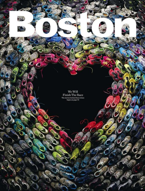 Boston Magazine's incredible cover made of shoes worn in the marathon