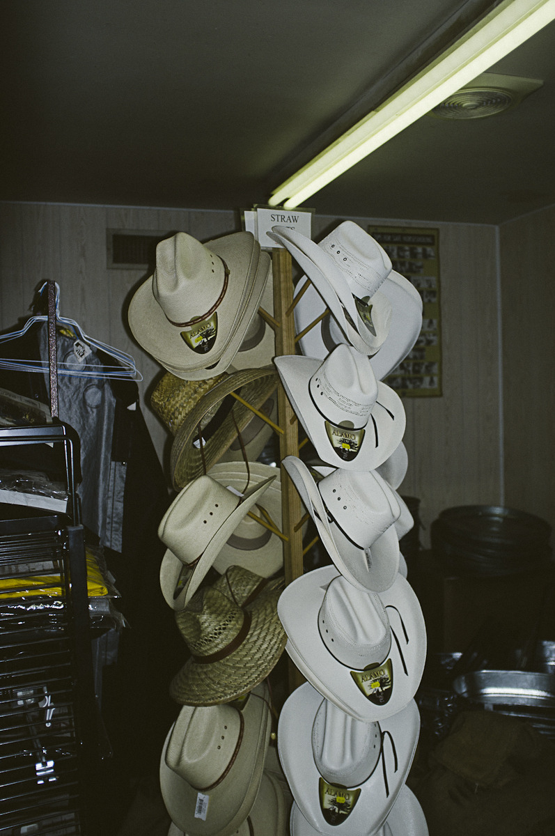 Cowboy hats at the feed store.