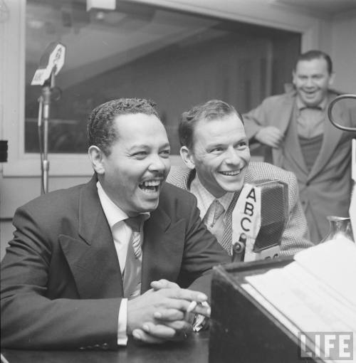 electronicsquid:  Billy Eckstine and Frank Sinatra, who both had shows coming up at the Paramount Theater, appear together on a call-in radio show (Martha Holmes. 1949)  Billy Eckstine and Frank Sinatra, who both had shows coming up at the Paramount Theater, appear together on a call-in radio show in 1949. Photo: Martha Holmes, Time/Life Pictures