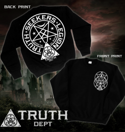 "truthdept:  ""Truth Seekers Legion Crew Neck"" All sizes available and we ship worldwide! Please visit our webstore! http://truthdept.storenvy.com/ And like us on facebook http://www.facebook.com/truthdept Spreading The Truth Since 2009"