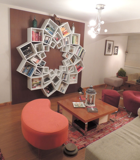bookshelfporn:  Veronica's One-of-a-Kind Mandala Bookshelf