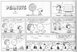 "connorratliff:  ANOTHER WEIRD PEANUTS STRIP Maybe I am unaware of something Schulz is referencing, but nothing about this strip makes sense to me.  Why is Snoopy only wearing a hat for this one strip? Every panel of this contains mystery. EDIT: Let's look at this panel by panel. Panel 1: Snoopy is not wearing a hat. He is looking at a globe, implying he doesn't know where ""the valley"" is. Panel 2: Snoopy is now wearing a hat. Schulz decided that Snoopy hopping off the top of his house is important action to show, even though Snoopy was not on the top of his house in Panel 1. Panel 3: Charlie Brown reacts to Linus as if the date, once every half millennium, should be obvious to Linus. ""Don't you know?"" Linus is reacting merely to the fact that Snoopy is passing by them, which must happen frequently. He should really ask ""Why is Snoopy suddenly wearing a hat? Is it a special occasion?"" Panel 4: If today is the day, then ""the valley"" which Charlie Brown is referring to must be nearby, otherwise Snoopy could not make the trip in a single day. Referencing the valley as merely ""the valley"" implies that it is a well-known location. Is there another animal that has this behavior, that Schulz is referencing? If it were once a year, it may make sense, in the way that swallows or salmon or any number of other animals return to a single spot. But 500 years? Panel 5: There is no new information in this panel. Linus and Charlie Brown are only repeating the same information from Panel 4. Snoopy has not walked far since Panel 3, which would suggest that he is walking incredibly slowly. Panel 6: Charlie does not respond to Linus. Linus is imagining what this Day of the Beagle scenario must look like. Charlie Brown, however, responds as if Linus said something along the lines of ""That must be lonely to go there."" Why is Charlie Brown worried about Snoopy having a good time? That isn't typically something he worries about with Snoopy. Snoopy seems to consistently find ways of entertaining himself. Was it not fun when the beagles did it 500 years ago? Panel 7: This is not a punchline. Snoopy doesn't even express any anxiety for sticking out, which would at least be more Peanuts-y. He simply is asking whether he is the only one wearing a hat, even though he clearly is. Did the beagles agree to wear hats, but then Snoopy was the only one to follow through with it? Why do none of the beagles in the second row and back have bodies? They are just floating heads. Was Schulz thinking about how penguins meet, and how similar they look to each other? Also, they are clearly not in a valley. The only information we had about the location was that it was a valley…THE valley, in fact. This panel might work if every other beagle were drawn realistically, except for Snoopy. Wouldn't be Peanuts-y, but it would at least lead to something. Yahoo just bought this post for a billion dollars."