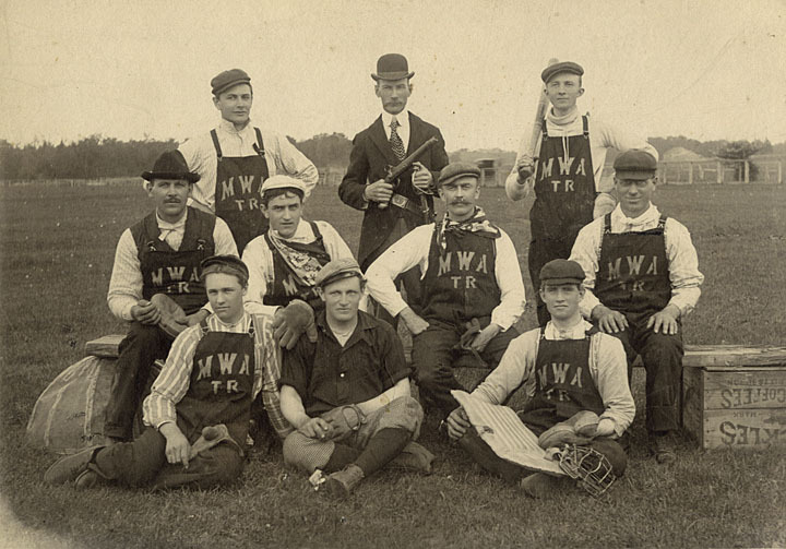 Modern Woodmen of America baseball team, Two Rivers, Wisconsin, ca. 1900. The Modern Woodmen of America is a fraternal benefit society founded in 1883 and still in operation today. Photo by Hubert Wentorf. via: Two Rivers History: Hubert R. Wentorf Photo Collection and Fisher-Hamilton Industries Product Catalogs, Lester Public Library by way of University of Wisconsin Digital Collections