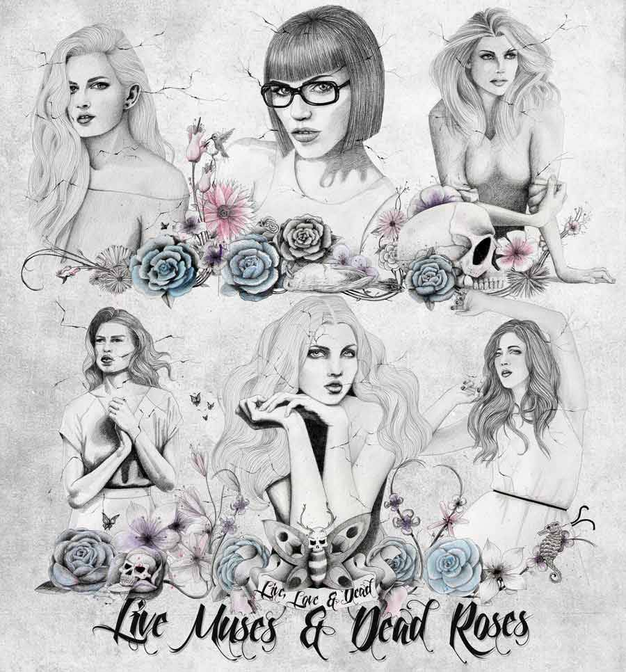 Live muses & dead roses, Poster, pencil & watercolors, by Manuel De La Fuente Baños / manuelsart.com illustration ©2013